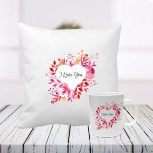 I Love You Cushion and Mug Combo