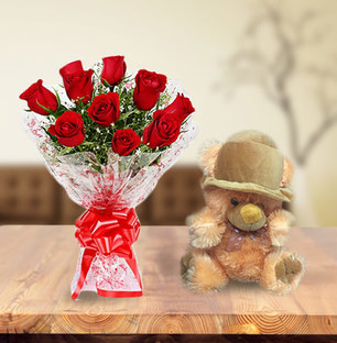 Valentine Roses and Teddy Bear