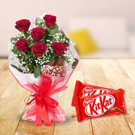 Red Roses with Kit Kat Chocolate