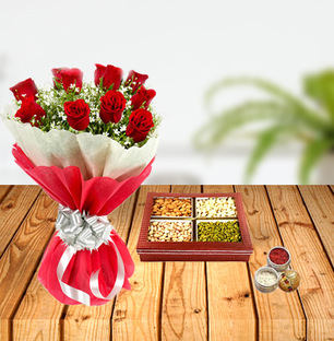 Dussehra Flower and Dry Fruits Tikka Combo