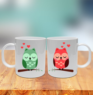 Owls in Love Couple Mug