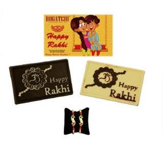 Happy Rakhi Twin Chocolate with 2 Kundan Rakhis