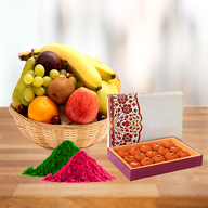 Fresh Fruits Basket and Motichoor Ladoo with Free Gulal
