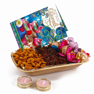 Diwali Hamper of Pan, Almonds, Chocolates, diya and  Card