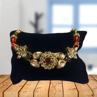 Ornamental Kundan Rakhi with beads