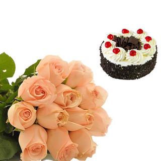 Black Forest Cake & Peach Roses