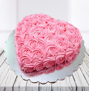 Pink Flowers Heart Shaped Cake