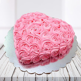 Pink Flowers Heart Shaped Cake