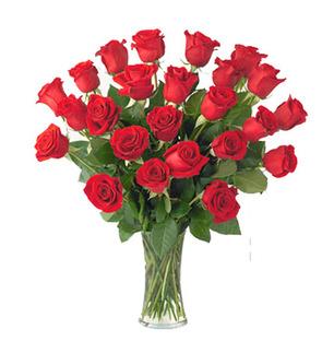 Red Roses Vase 30 Flowers