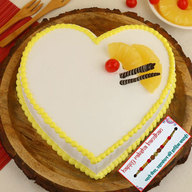 Heart Shape Pineapple Cake with Rakhi