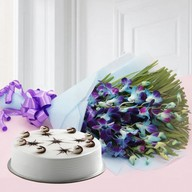 Premium Vanilla Cake From 5 Star With Lovely orchids