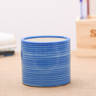 Ring Design Cylindrical Ceramic Pot (Blue)