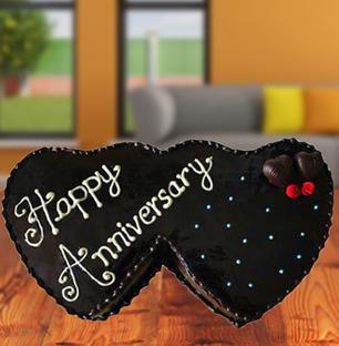 Double Heart Anniversary Cake
