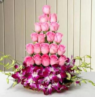 Pink Roses and Orchids Arrangement
