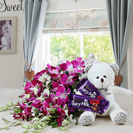 Valentine Love with Orchids, Teddy and Chocolate