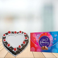 Heart Shape Black Forest Cake with Cadbury Celebration Combo