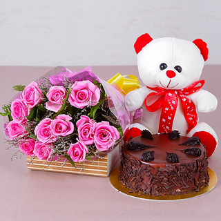 Bunch of Pink Roses with cake and teddy combo