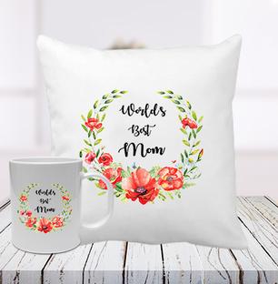 Worlds Best Mum Cushion Mug Combo
