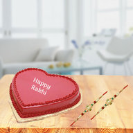 Heart Cake with 2 Rakhis