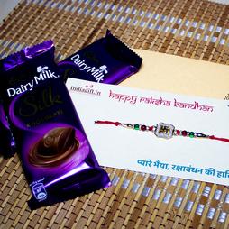 Swastika Rakhi with Dairy Milk Silk Chocolates