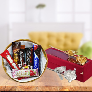 Imported Chocolates with Silver Plated Rose
