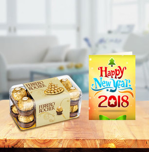 Ferrero Rocher with New Year Greeting Card