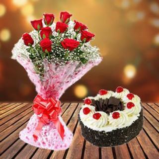 Blackforest Cake & Red Roses