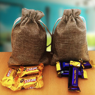 Miniature Indian Chocolates in Jute Bags