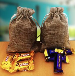 Miniature Indian Chocolates in Jute Bags