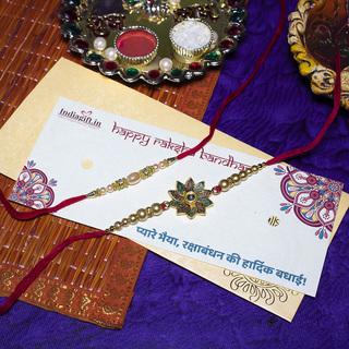 Flower & Pearl Rakhi Set