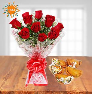 Roses with Gujiya