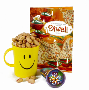Pista In Smiley Mug with Diwali Card and Diyas