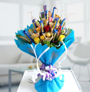 Valentine Mix Chocolate and Flowers Bouquet
