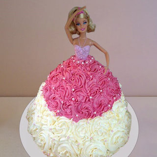 Barbie Roses Double Color Cake
