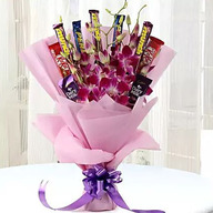Valentine Purple Orchids & Chocolate Bouquet