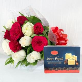 Mixed Roses With Soan Papdi