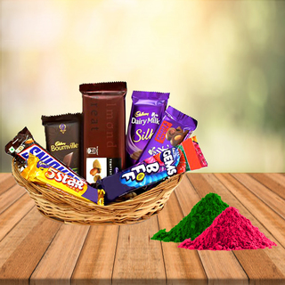 Small Chocolate Basket with Free Gulal