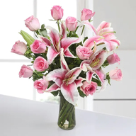 Lily & Pink Roses Vase