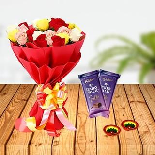 Mixed Flower with Cadbury Chocolate & Diya Combo