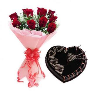 Valentine Red Roses & Heart Shape chocolate Cake