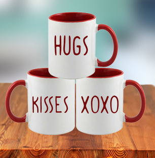 Hugs Kisses XOXO Combo of Mugs