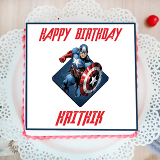 Captain America Photo Cake