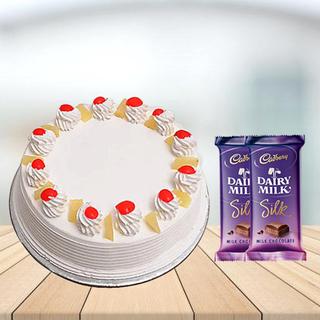 Pineapple Cake with Cadbury Silk Combo
