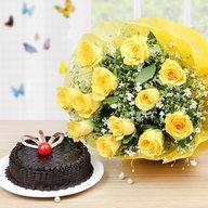 Fresh Yellow Roses and Cake Combo
