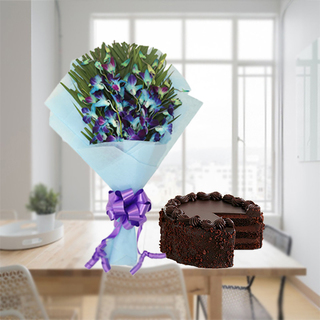 Premium Chocolate Cake From 5 Star With Lovely orchids