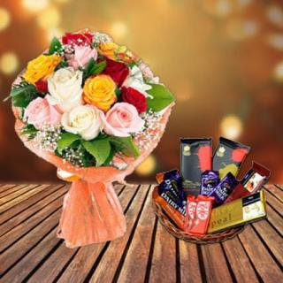 Mixed Roses & Chocolate Basket