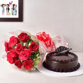Chocolate Truffle Cake & Red Roses
