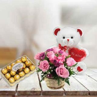 Pink Roses, Teddy & Chocolate