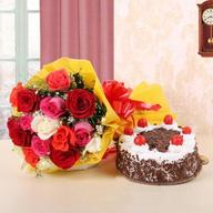 Mixed Roses & Black Forest Cake