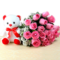 Valentine Pink Roses and Teddy Bear Combo